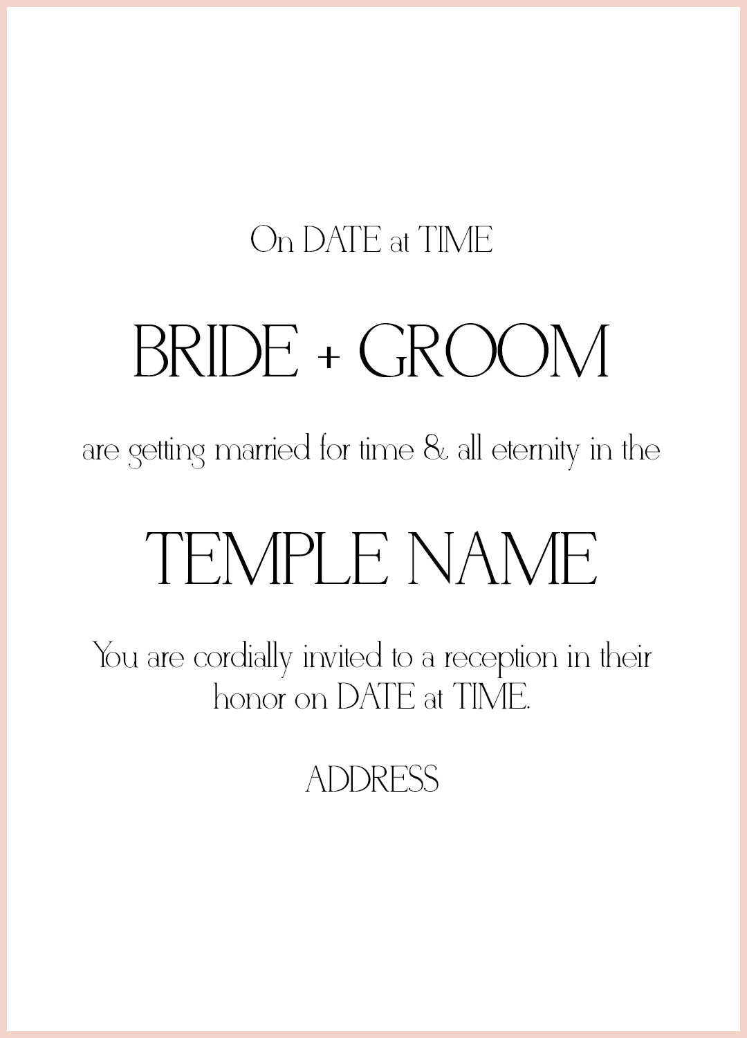 8 lds wedding invitation wording samples lds wedding facebook stopboris Image collections